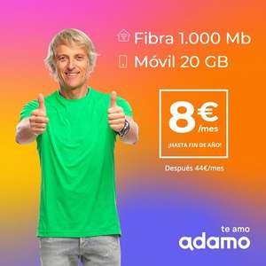 Fibra 1GB + 20 GB de datos por solo 8€ todo el año (luego 44€ al mes solo)