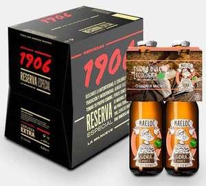 4 sidras gratis al comprar 12 botellas de cerveza 1906 Reserva Especia
