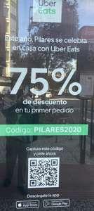 Uber Eats -75% primer pedido