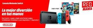 Pack Nintendo Switch + Juego a elegir (Bayonetta 2, Rocket League, Scribblenauts)
