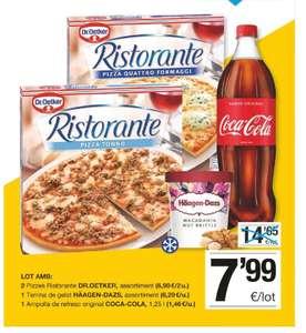 2 Pizzas Ristorante + Tarrina Haagen Dazs + Coca Cola 1.25 L en los Supermercados BonPreu ( Cataluña )