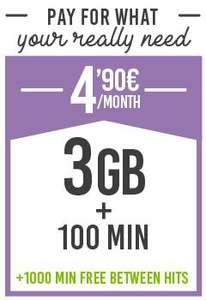 Hits mobile super tarifa - 3GB + 100 min por 4,90€