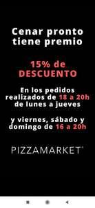 15% descuento Pizzamarket