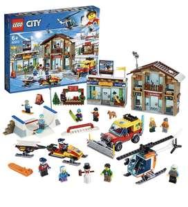 LEGO City Town - Estación de Esquí, Set de construcción, Incluye helicóptero y camión quitanieves