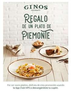 Regalo de un plato del Piemonte en Ginos para SOCIOS PLATINO
