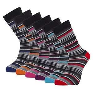 Pack de calcetines de 6 o 12 pares de rayas de colores. Talla única: 39-45.