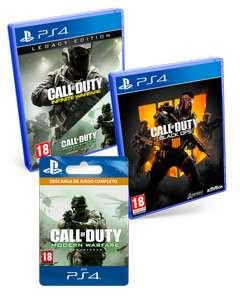 Triple Pack Call of Duty: Black Ops 4 + Infinite Warfare Edición Legacy + Modern Warfare Remastered