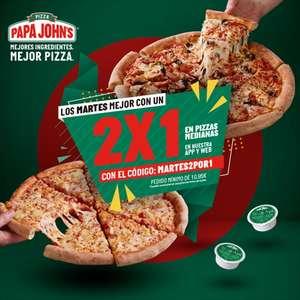 2x1 en pizza los martes en papa johns