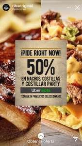 50% nachos, costillas y costillar party ribs