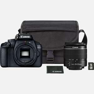 Canon EOS 4000D negra + Objetivo EF-S 18-55mm III + Bolsa + Tarjeta SD