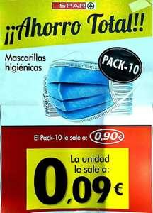 Supermercado Spar 10 mascarillas higienicas 0.80€