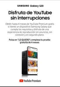 GRATIS YouTube Premium (4 Meses) - Samsung MEMBERS