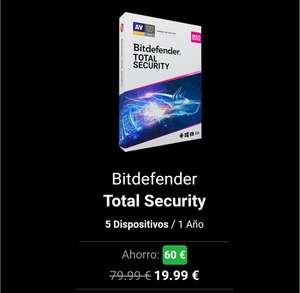 Bitdefender Total Security (licencia 1año hasta 5 dispositivos)