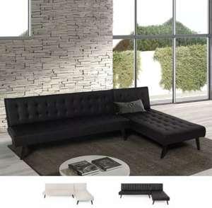 Sofa Cama con chaise longe en polipiel - reclinable y modular 252cm (Beige o negro)