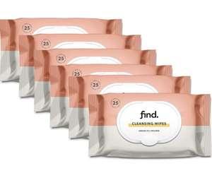 FIND - Toallitas desmaquilladoras con Aceite de Argán ( Adecuadas para pielese secas)- 6x25 (150 toallitas)