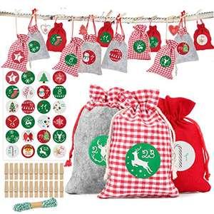 Calendario de adviento 24 bolsitas con pegatinas y cuerdas para poner al árbol de navidad y rellenar de chuches