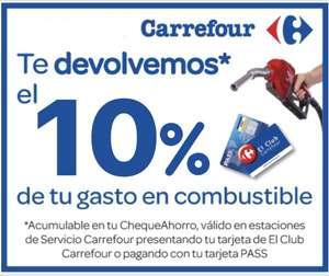 10% acumulable en tu chequeahorro en todas las gasolineras Carrefour (Antes 8%)