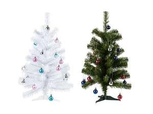 Árbol de Navidad de 60 cm de altura, con 24 bolas de Navidad con cintas para colgarlas y adornalo de forma individualizada.