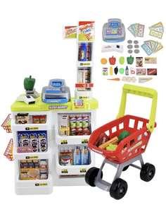 Supermercado Puesto de Mercado con Carrito de la Compra, Scanner y Accesorios Incluidos