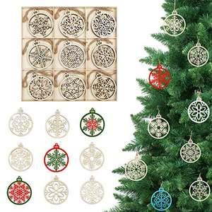 BELLE VOUS Adornos de Madera Copo de Nieve para Árbol de Navidad (27 Piezas) 9 Diseños x 3 Piezas Decoraciones de Navidad