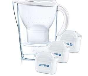 BRITAMarellablanca Pack Ahorro – Jarra de Agua Filtrada con3 cartuchos MAXTRA+, Filtro de agua BRITA que reduce la cal y el cloro