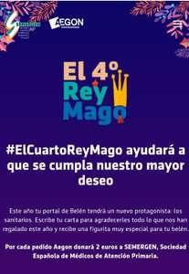 AEGON REGALA UNA FIGURITA DEL 4 REY MAGO PARA ADORNAR EL BELEN Y 2 € A SEMERGEN