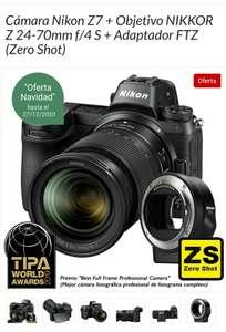 Cámara Nikon Z7 + Objetivo NIKKOR Z 24-70mm f/4 S + Adaptador FTZ (Zero Shot)