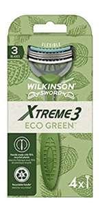 Wilkinson sword xtreme 3 eco green x 4 - maquinilla de afeitar de triple hoja para hombre, ecológica, reciclable, 70 g