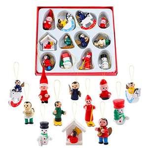 12 piezas Mini adornos de madera para árboles de Navidad