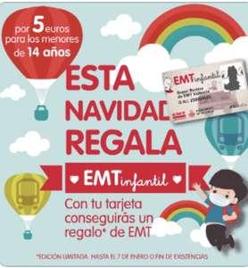 EMT Valencia. Bono infantil + regalo 5€ por 2 años.