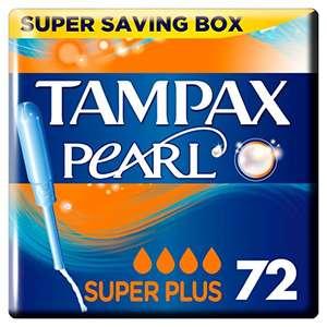 Pack de 72 tampones Tampax Pearl Super Plus (4 paquetes de 18)