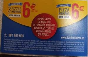 Domino's pizza , 3 pizzas medianas a domicilio por 18€ y 1 pizza a recoger por 6€