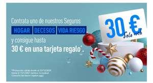 Sólo por contratar tu Segurode Hogar, Vida o Decesos recibe 30€ en una tarjeta Amazon, Corte inglés o Ikea