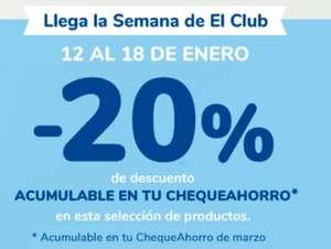 20% acumulable en cheque ahorro club Carrefour.