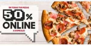 50% de descuento en todas las Pizzas en Pizza Hut (a domicilio)