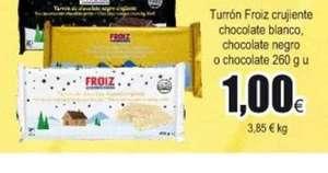 Turrón crujiente de chocolate blanco/negro 260 g - 1€ en Froiz