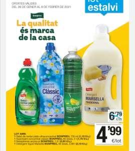 Lote con: jabón Marsella, fregasuelos, suavizante y lavaplatos en supermercados bonpreu/esclat
