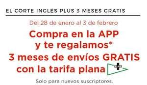 3 meses gratis de El Corte Inglés Plus comprando desde APP