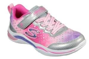 SKECHERS Zapatillas de luces de niña Skechers de color plata y rosa con plantilla memory foam