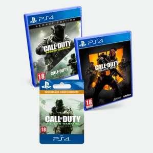 Con descuento Oculto de 5€, Triple Pack CoD: Black Ops 4 + Infinite Warfare Edición Legacy + Modern Warfare Remastered PS4