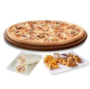 1 pizza mediana + 2 entrantes + enrollado por 13,5 a domicilio