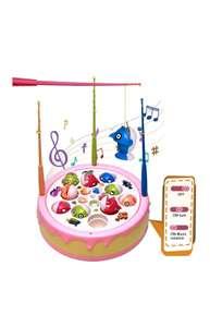 (juguete educativo)Juego de pesca con música,Spin magnético con 4 cañas