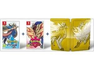 Pokémon Espada + Pokémon Escudo + Caja metálica por 49,99 €