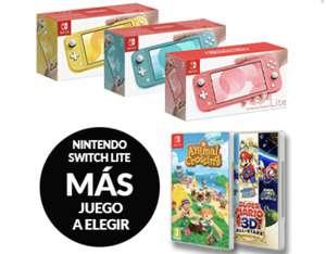 Nintendo switch lite + animal crossing o súper Mario 3d all stars