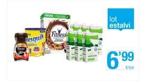 Lote: Nescafé soluble + nesquik + cereales fitness Nestlé + 6 brics leche semi en supermercados Bonpreu