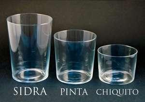 Vasos de vidrio (sidra, pinta o chiquita), 2ª ud. -50% sale la unidad a 0,52€
