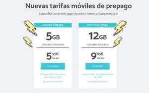 5 GB de datos + llamadas ilimitadas: 5,95 euros al mes durante seis meses (Prepago) Nuevas altas