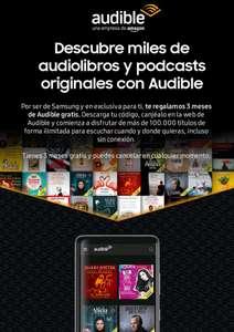 3 meses gratis de Audible con Samsung Members (con código promocional)