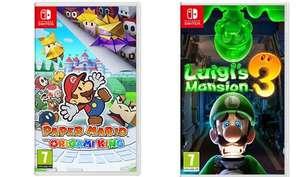 Paper Mario: The Origami King // Luigi's Mansion 3 Nintendo Switch por 37,49 € (cada uno)