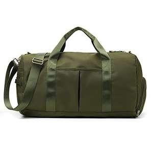Bolsa de Gimnasio con Compartimento para Zapatos, de Lona para Entrenamiento, Verde